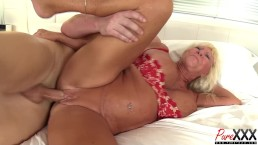 76 year old Mandi McGraw still loves the cock