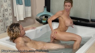 Son Caught Step-Mommy Alexis Fawx Working at Nuru Massage! Fingering fingered