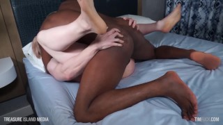 Sir Jett gets his white muscle butt pounded out by a big black dick