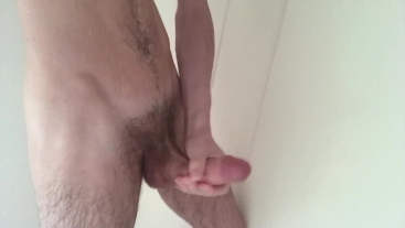Straight Young Athlete Jerks Off Morning Wood & Cums In Shower