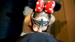 Oooooh boy! Minnie Mouse MILF sucks cock dry and swallows