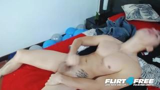 Brian Mendoza on Flirt4Free - Toned Latino Twink Lotions Up Big Uncut Cock