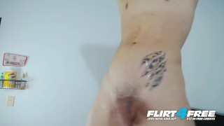 Brian Mendoza on Flirt4Free - Toned Latino Twink Lotions Up Big Uncut Cock Bskow black