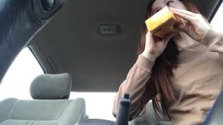 Public parkinglot fat me makes in squirt cucumber a freckledred pussy outside