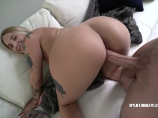 Fat lady boobs blonde hottie with tattoos fucks me after casting mylifeinmiami big coc