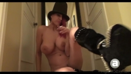 Big Tit Bitch Smoking in Boots