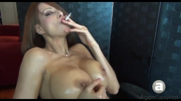 Sandi wants you to worship her big tits while she smokes