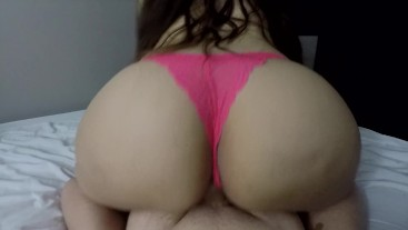 BEAUTIFUL AMATEUR IN PINK THONG BOUNCES IN REVERSE COWGIRL TIL SHE ORGASMS