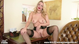 Penny Lee strips down to lingerie sheer vintage nylons to give handjob help