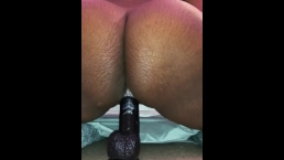 Juiicy creams riding big black dildo
