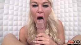 busty blonde goddess loves sucking cock
