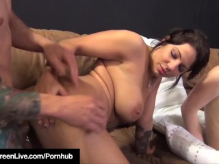 Preview 2 of All Natural 36F Maggie Green Has Orgy Fuck Party With Six!