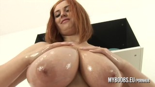 Alexsis Faye from Myboobs.eu oiled and play with her huge natural boobs