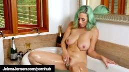 Green Haired Amazon Jelena Jensen In Shiny Retro Lingerie!