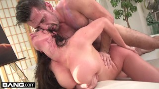 Fucked as in ass angela her tits white sucks she's the own throat brunette