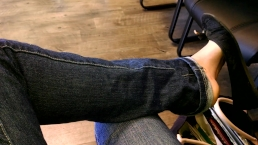 Teen Shoeplay Dangling My Sexy Black Ballet Flats in Public Waiting Room