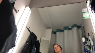 Public masturbation in changing room - VERY HOT !!! Creampie breeding