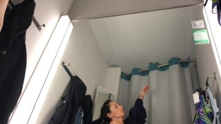 Public masturbation in changing room - VERY HOT !!! Skinny girl