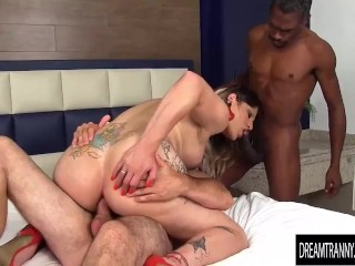 Insatiable Tgirl Amanda Ferraz Has Her Mouth and Ass Fucked by Two Guys