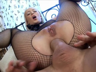 Perfect Big Booty Porn Fucking, Anal creampied In fishnet Big Dick Blonde Creampie anal Small Tits