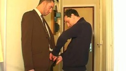 Male sucker to suit salesman serviced in spite of him