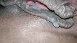 Cum filled hairy pussy, hubby sloppy seconds