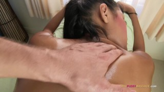 Pinch her pussy mound during naked oil massage  tuk tuk bar girl thai babe pattaya asian small tits skinny massage petite cream pie thai creampie thailand bubble butt thaipussymassage bangkok