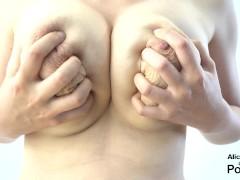 Deep massaging my F cup boobs