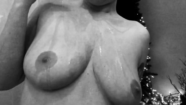 Black and White Slow Motion Strip Tease with Oil