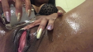 Shaving my hairy pussy - LONG LIPS