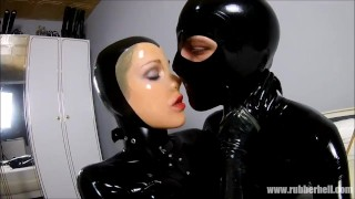 Rubber couple relaxing in full black latex enclosure  rubber kink bondage latex full rubber young couple czech couples gummi rubber catsuit latex catsuit catsuit masturbate