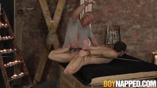 Fingerfucked twink roped down and dommed until he cums
