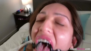 Annie Always Wears Ring Gag for Daddy  drooling deep throat breath play bdsm drool gag annie always daddy ring gag kink rough latin spit face fuck dirty annie adult toys mouth fetish