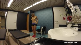 Henessy masturbating in the public bathroom