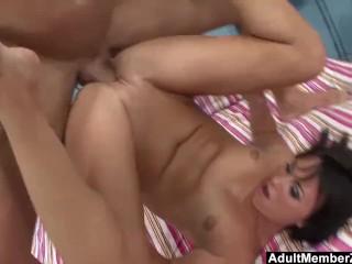 Cute Babe Footjobs And Licks Cum Off Her Feet