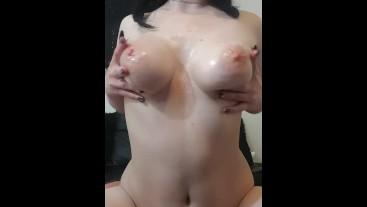 Goth Mistress Oils Big Tits