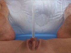 Sexy girl First piss peeing in new tiny pool hot golden shower POV HD