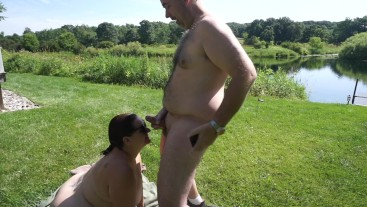 Married Couple Missy and George Blowjob By The Lake - Full Outdoor Nude- HD