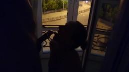 Hotel slut sucks cock at night