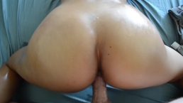 OIL ON HER BIG ASS. ASIAN BOOTY, BUBBLE BUTT. BWC