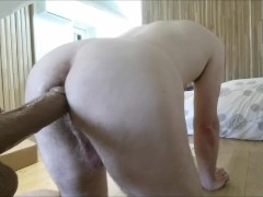 Straight white ass fucked hard by black mamba sex machine, too big (almost)