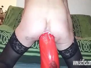 XXXtreme prolapsing anal dildo destruction