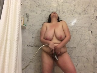 Sexy Amateur Big Tit BBW Cums in the Shower With Detachable Shower Head
