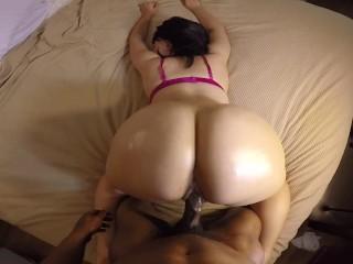 Roxy 18 Creampie Bubble Butt Slut Takes Backshots In Pink Bra W- Great Pov! Big
