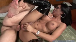 Big Titty Sexy Brunette Shemale Slut Viviana Sucks Cock & Gets Hard Fucking