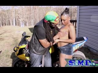Big lip ebony milf gives sloppy bj on motocycle