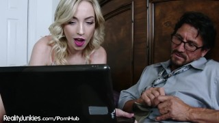 Caught my Step-Daddy Jerking his Cock to Teen Porn!