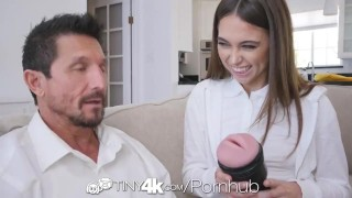TINY4k Step daughter Riley Reid uses fathers day gift on step dad Time deepthroat