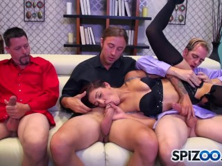 Spizoo - Petite Aimee Black sucking 3 big dicks, big booty