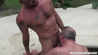 Chubby bear getting unsaddled outdoors Natural bukkake